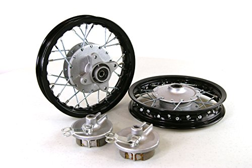 """Piranha Replacement Black Front & Rear Alum Wheels Rims for Honda CRF50. 10"""" 10 Inch Xr50 Pit Bike Stock Style"""