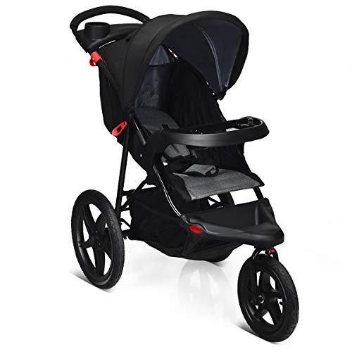 COSTWAY Triciclo con Función Reclinable Cochecito Plegable para Bebé Silla de Paseo Ligera con Cinturón de Seguridad 5 Puntos para Niños de 6 a 36 Meses (Negro)