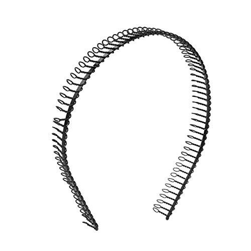 ROSENICE Woman Hairband Sport Headband Hair Hoop Metal Teeth Comb 1pcs (Black)