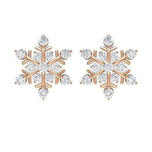 Orecchini da donna a forma di fiocco di neve da 1/2 ct, con diamante HI-SI, 10K Oro rosa, Paio