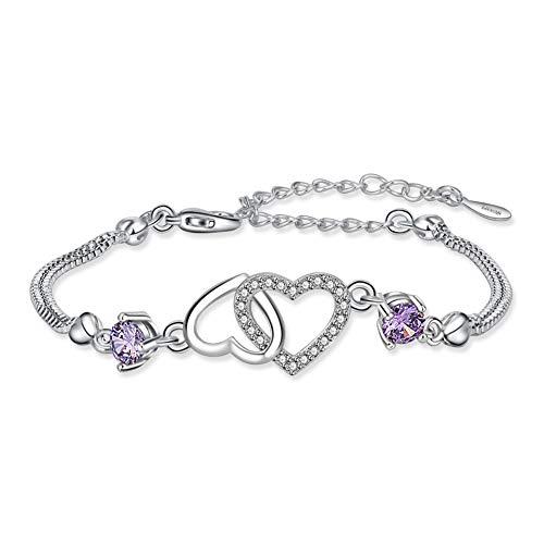 """Herz Armband Damen Symbol\""""Nie Getrennt\"""" Armbänder Frauen Dünn Weißgold Armband Justierbare Zirkonia Armband Hochzeit (Heart)"""