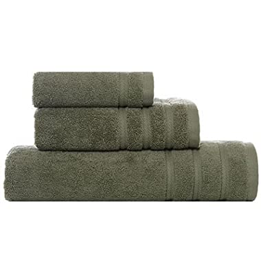 Towel Set (Vera Wang Twill Stripe Moss)