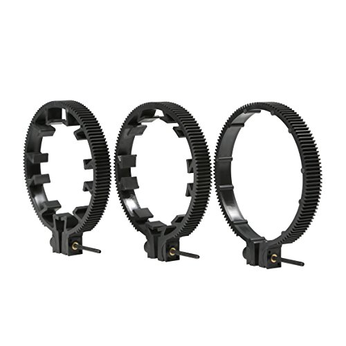 Movo FR3 Adjustable Follow Focus Ring Set of 3 with 65mm, 75mm and 85mm Lens Gear Rings (Standard 32 Pitch - 0.8 mod)