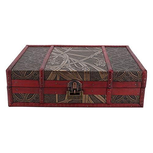 Schatkist met slot, sieradendoos 27,8 x 21,5 x 9 cm Vintage houten kist Schatkist Aufwwahtungsbox voor decoratie, geschenkverpakking, spaarpot
