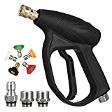 MATCC Pressure Washer Gun Kit 3200PSI Car Power Washer Foam Cannon Gun Set with 1/4' Quick Connector, M22-14/15mm, 3/8' Adapters, 5 Pressure Washer Nozzle Tips