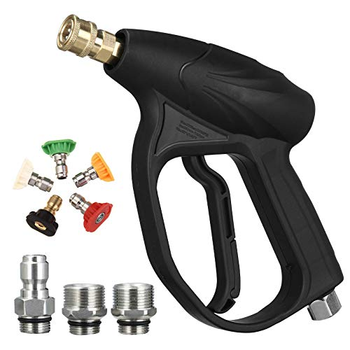 MATCC Pressure Washer Gun Kit 3200PSI Car Power Washer Foam Cannon Gun Set with 1/4'' Quick Connector, M22-14/15mm, 3/8'' Adapters, 5 Pressure Washer Nozzle Tips