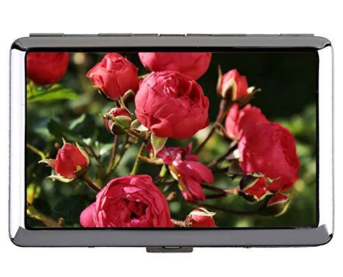 Portasigarette in acciaio inossidabile, Nature, rose, fiore Porta carte di credito