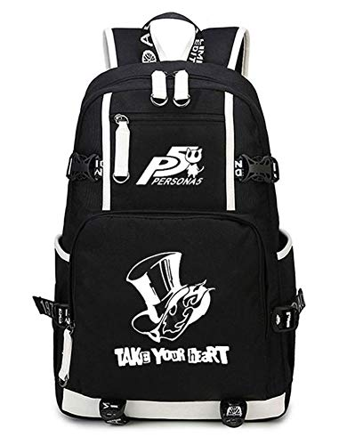 Gumstyle Persona Game Luminous School Bag Backpack Shoulder Laptop Bags for Boys Girls Students Black 1