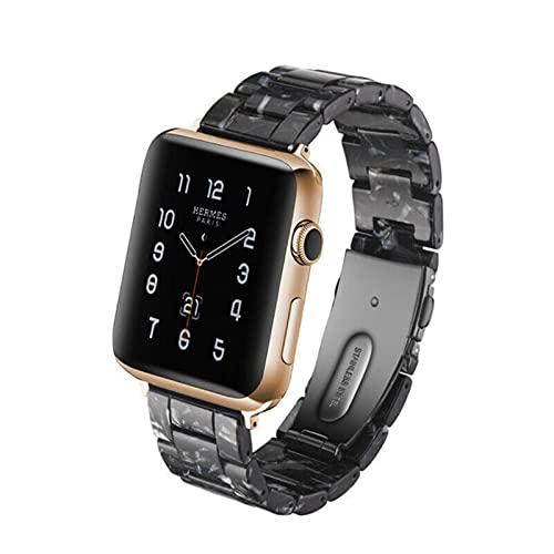 Pulsera de correa de reloj de líneas de concha de tortuga de resina de repuesto para Apple Watch Series 5/4/3/2/1 42 mm 44 mm 38 y 40 mm Estampado de leopardo