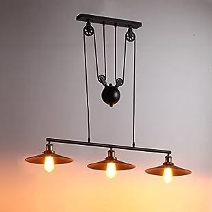 Vintage 3 Lights Rise and Fall Pendant Light Industrial Chandelier Ceiling Light Black Kitchen Island Hanging Lamp