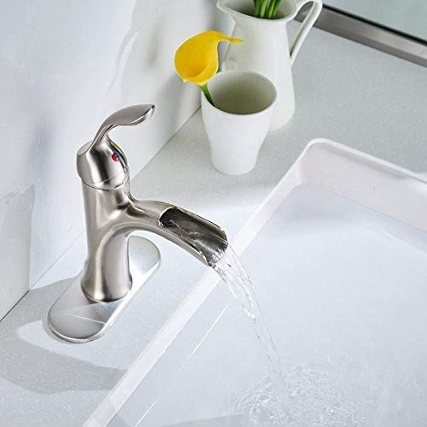 redOOY Taps Bathroom Basin Faucet Vanity Sink Mixer Brushed Nickel Faucet Waterfall Spout Tap Taps