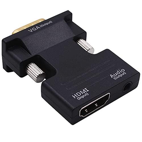 Adaptateur HDMI vers VGA, convertisseur HDMI vers VGA 1080p, avec Port Audio 3,5 mm, utilisé pour Ordinateur Portable, PC, décodeur, DVD Blu-Ray, HDTV, Moniteur, projecteur