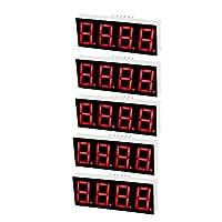 uxcell LEDデジタルディスプレイチューブ プラスチック レッド 50.3 x 19 x 8mm 5個入り