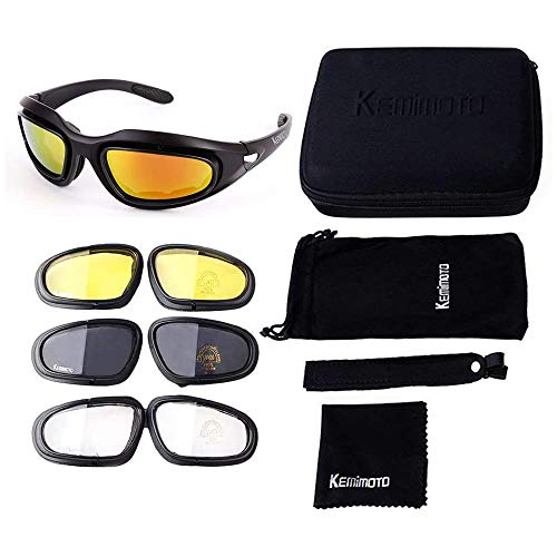 Motorrad Brille UV-Schutz Polarisierte Sonnenbrille Motorradbrille Sportbrille Schutzbrille Motorrad Gläser 4 Lens Kit mit Aufbewahrungstasche Ideal für Fahrrad Motorrad Wandern Outdoor Sport