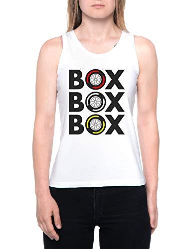 Box Box Box Tyre Compound Tank T-Shirt Damen Weiß Women's White
