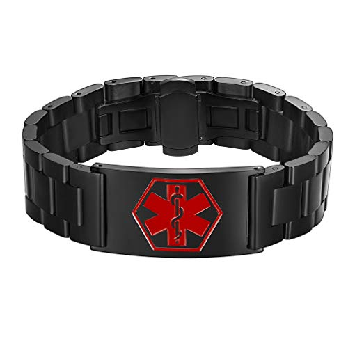 Supcare Medizinische Erste Hilfe Edelstahl Uhrband, Einstellbare Edelstahlarmband,Medical Emergency Bracelet Stretch Armband für Herrn,Damen,Kindern