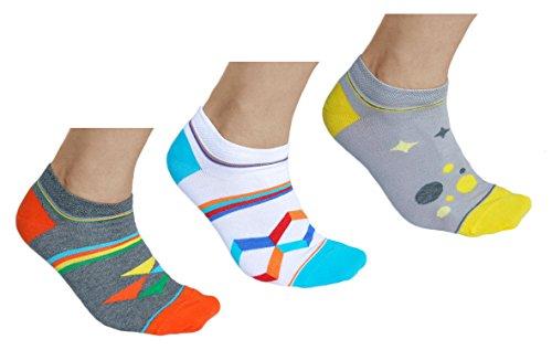 vitsocks kurze Bunte Sneaker Socken für Herren mit Muster (3x PACK) aus BAUMWOLLE, in grau weiß & mehrfarbig, JOY (39-42)