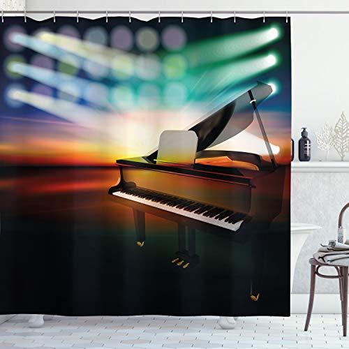 Ambesonne Musikalische Theater Home Decor Vorhang für die Dusche, Grand Piano auf Musik Bühne Abstrakt Colorful Concert Instrument, Stoff Badezimmer Decor Set mit Haken, 177,8cm, multicolor