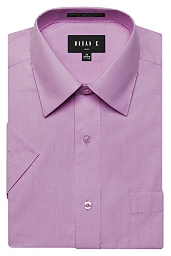 URBAN K Men's Classic Fit Solid Formal Collar Short Sleeve Dress Shirts Regular and Plus Size lilac XL / 17-17.5 N
