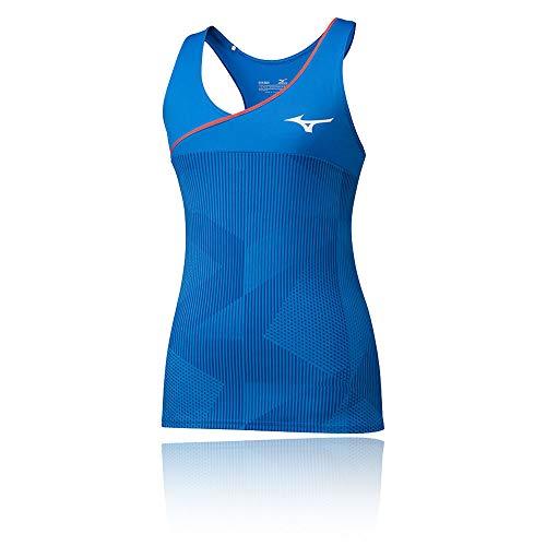 Mizuno Camiseta sin Mangas Estampada para Mujer, Mujer, Depósito, 5054698642702, Azul Brillante, L