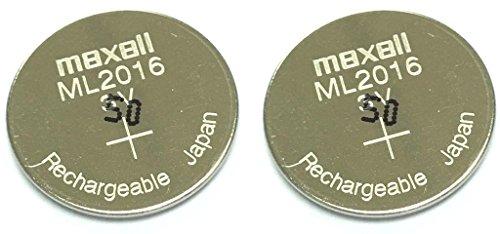 Maxell ML2016 Lithium-Mangan-Batterien, wiederaufladbar, 2 Stück