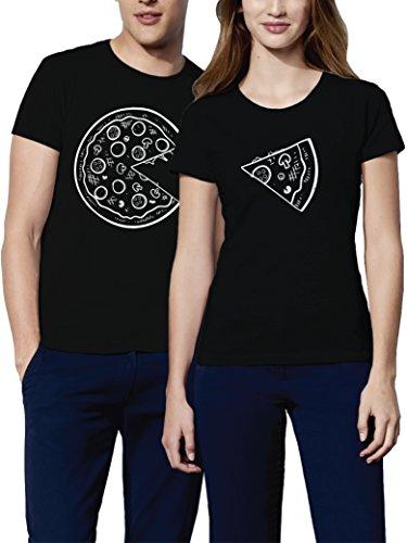 VIVAMAKE Pack 2 Camisetas para Mujer y Hombre Originales con Diseño Amantes de Pizza
