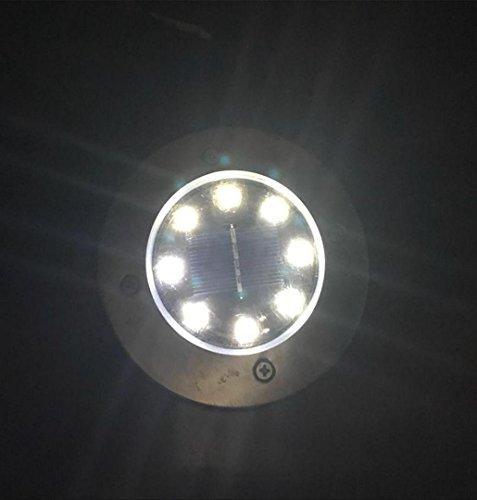 ZEZKT-Home Solar Power Begraben Lampe Boden Licht,8LED Wasserdichte Outdoor Pfad Licht Rasen Landschaft Decking Solar Lampe Warmes Weiß - Einbau-Strahler (Weiß)