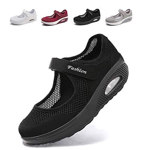[JIAFO] ナースサンダル安全靴レディース スニーカー 介護シューズ 美脚 マジックテープ 通気性 柔軟性 姿勢矯正 船型底 軽量 メッシュ 厚底 ママシューズ 疲れにくい 滑り止めお母さん 婦人靴 看護師(22.5cm~26.0cm) (ブラックA,