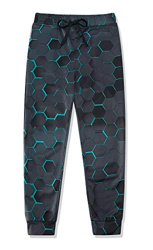 Lovekider Trainingsanzug Bottoms für Kinder mit Tunnelzug Elastische Taille Sweathosen Polyester Trainingsanzug Pants Schnelltrocknend Hose Jogging Sports 3D 10-11 Jahre