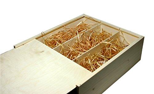 Faba Home Weinkiste Holz Geschenkkiste Kiste mit Schiebedeckel, Holzkiste unbehandelt, Geschenk-Box mit Bio-Holzwolle für 3 Flaschen Wein