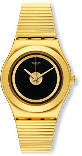 Swatch Herren Digital Quarz Uhr mit Leder Armband YLG130
