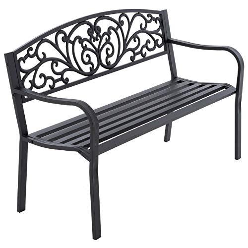 Nexos Gartenbank Parkbank Metall 127x50x84 cm 3-Sitzer Metall-Bank Sitzbank Gartenmöbel Ruhebank Außen-Bank Farbe: schwarz Modell wählbar...