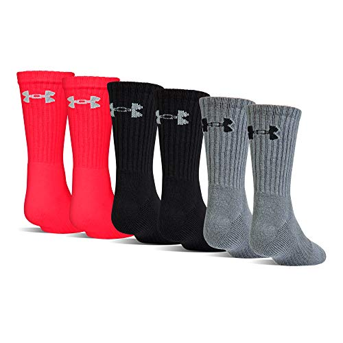 Under Armour Youth Charged Cotton 2.0 Crew Socks, 6-Pairs, Red/Assorted, Shoe Size: Youth 13.5K-4Y