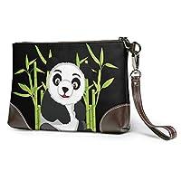 イラストパンダ クラッチバッグ 男女兼用 レザー セカンドバッグ 大容量 高級感 着脱ベルト付き 軽量 撥水 ビジネスバッグ かばん