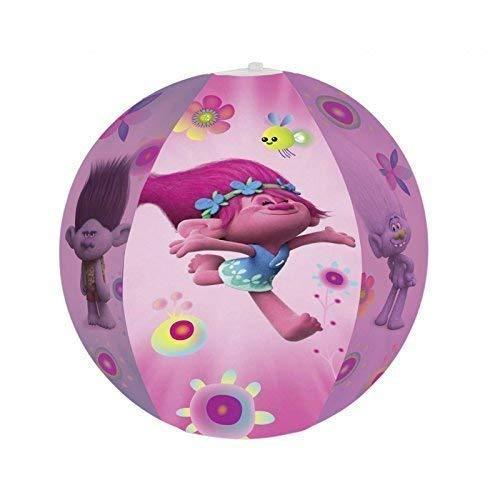 Lively Moments Aufblasbarer Wasserball / Ball / Strandball / Spielball mit den Bildern von DreamWorks Trolls Poppy, Branch und Guy Diamond Durchmesser ca. 50 cm in pink - lila