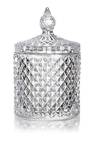 Bonbonglas Bonbonniere aus Vorratsglas Glasgefäß Glas mit Deckel, dekorative Süßigkeitenschale, mit Kristallüberzug für Zuhause, Büro, Schreibtisch Bonbonbehälter Zuckerdose BonbonDose Glasschale Keksglas Aufbewahrungsgläser Candybar No: 2