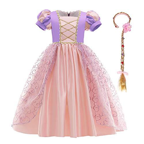 IBTOM CASTLE Kinder Mädchen Kostüm Prinzessin Rapunzel Lang Kleid Party Cosplay Verkleidung Festlich Karneval Festkleid Brautjungfer Maxikleid Geburtstagsfeier Fest-Kleid Rosa 3-4 Jahre