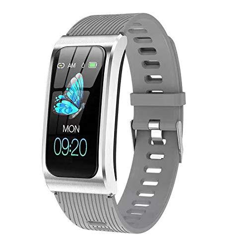 Fitness Armband Uhr mit Blutdruckmessung IP68 Wasserdicht Pulsuhr Sport Damen Herren IOS Android JHCT Schlaf Tracker (grau)