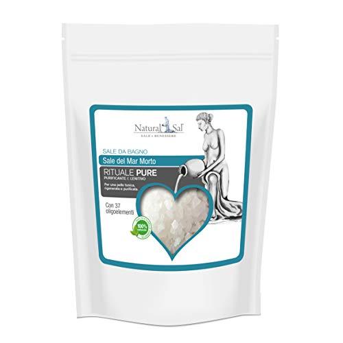 NATURALSAL Sale da bagno con Sale del Mar Morto, confezione RICHIUDIBILE da 3.0 Kg, per la cura e i problemi della pelle, 100% NATURALE -PURIFICANTE E LENITIVO- (RITUALE PURE)