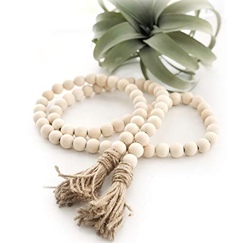 Big 58in Wood Bead Garland with Tassels Farmhouse Beads Rustic Country Decor Prayer Beads Wall Hanging Decor