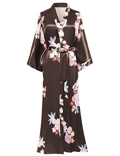 BABEYOND Damen Morgenmantel Maxi Lang Satin Sommer Kimono Strandkleid Blumen Muster Gedruckt Strickjacke Kimono Bademantel Damen Lange Robe Blumen Schlafmantel Girl Pajama Party (2-Kaffee)