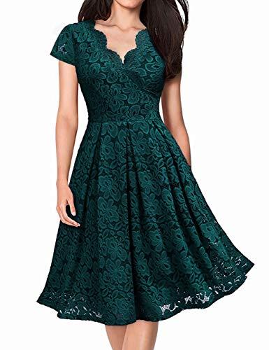 KOJOOIN Damen Spitzenkleid 1950er Cocktailkleid Vintage Brautjungfernkleider für Hochzeit Kurzes A-Linie Abendkleider Dunkelgrün (Kurze Ärmel) S/34-36