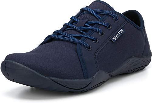 WHITIN Men#039s Canvas Barefoot Sneakers | Wide fit | Arch Support | Zero Drop Sole Size 11 Casual Minimalist Tennis Shoe Fashion Walking Flat Lightweight Comfortable Driving Male Dark Blue 44