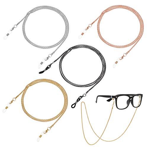 4 Stücke Brillenkette Sonnenbrille Brillen Kette Halter Kette Gläser Schnüre Gurt Lesebrillen Brillenbänder für Damen (4 Farb)