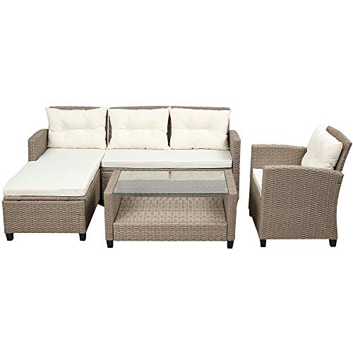 Extaum Rattan Furniture Outdoor,Patio Furniture Sets, 4 Piece Conversation Set Wicker Ratten Sectional Sofa with Seat Cushions Living Room,Outdoor