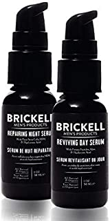 Brickell Men's Day and Night Serum Routine, All Natural and Organic, Unscented