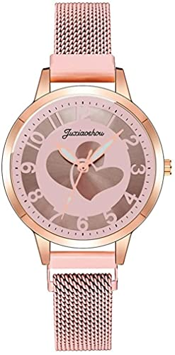 JZDH Reloj de Pulsera, Reloj de Cuarzo Digital Impermeable. El Reloj de Las señoras del patrón de Amor. Reloj Deportivo de cinturón de Malla de Acero Inoxidable