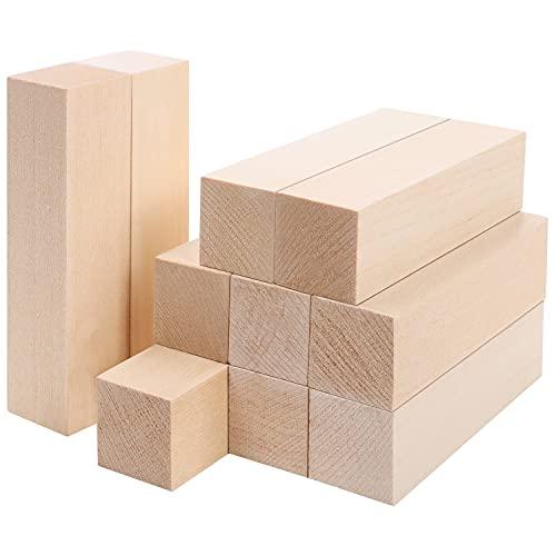 Belle Vous Großes Lindenholz zum Schnitzen (10er Packung) - L 10 x B 2,5 x H 2,5 cm - Naturbelassenes Holz zum Schnitzen - DIY-Hobbyprojekt-Bastelset für Anfänger, Kinder und Erwachsene