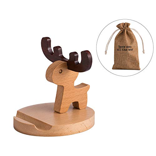 Animal Phone Stand, Wood Cell Phone Stand Compatible with iPhone 11 Pro X Plus 8 7 6, Phone Holder for Desk and Bed, (Deer)