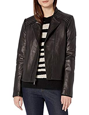 T Tahari Women's Kirsten Fitted Leather Jacket, Black, Large